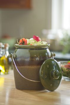 Stoneware Compost Crock for Kitchen Composting   Buy from Gardener's Supply