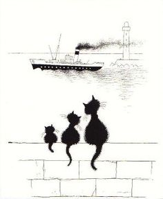 Made by: Albert Dubout - (Black cats) I Love Cats, Crazy Cats, Cute Cats, Albert Dubout, Black Cat Art, Black Cats, Photo Chat, Cat Silhouette, Cat Drawing