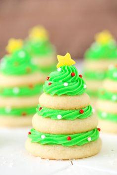 Christmas Tree Cookie Stacks Vertical