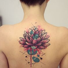 Teal circles and a little linework decorate this densely petaled dripping watercolor lotus.