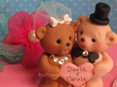 Teddy Bears Personalized Wedding Cake Topper or Centerpiece Keepsake Bridal Shower Cake Topper or Anniversary - http://wedding-cake-topper.com/teddy-bears-personalized-wedding-cake-topper-or-centerpiece-keepsake-bridal-shower-cake-topper-or-anniversary/