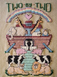 Noah's Ark Cross Stitch Vintage Needlework by DebraDixonDesign