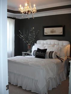 Another example of dark walls, white furniture, mirrors, crystals! Master bedroom paint color Kendall Charcoal by Benjamin Moore Dream Bedroom, Home Bedroom, Master Bedroom, Bedroom Decor, Bedroom Ideas, Extra Bedroom, Budget Bedroom, Pretty Bedroom, Bedroom Designs