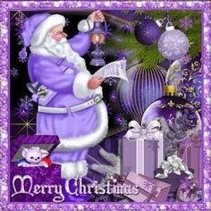 Punk Kerr: I love this purple Santa! Merry Christmas Quotes, 3d Christmas, Purple Christmas, Christmas Messages, Christmas Scenes, Christmas Pictures, Christmas Colors, Christmas Greetings, Christmas Wishes
