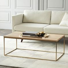 $399, Streamline Coffee Table - Whitewashed/Light Bronze #westelm