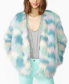 Vintage Multicolored Imitated Fur Coat