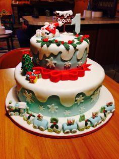 #compleannonatalizio#1anno#orsetto#trenino#neve#