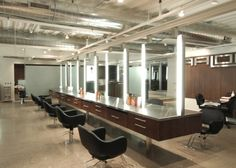 Hair Salon Stations. Love the lighting and how sleek everything is.
