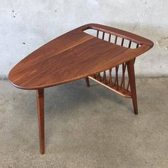 Mid Century Solid Walnut Side Table with Magazine Rack by