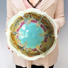 Ceramic Flower Bowl 8 cup in Turquoise Sunrise