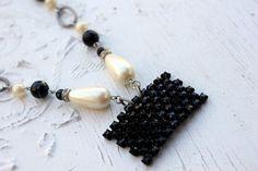 Vintage Black Rhinestone and Pearl Necklace