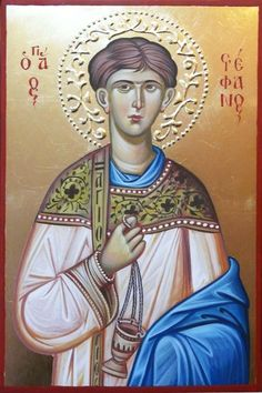 St Stephen icon, hand painted icon, christian gift, Byzantine  icon, orthodox icon, orthodox gift, iconography, saints iconography, icon art