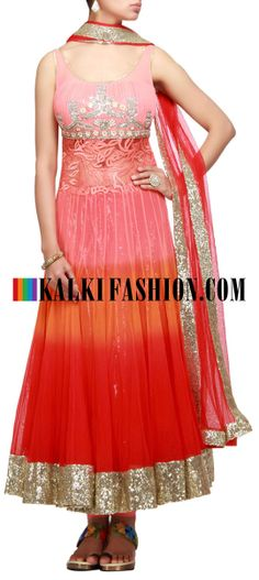 Buy Online from the link below. We ship worldwide (Free Shipping over US$100) http://www.kalkifashion.com/dyed-anarkali-suit-with-pleats-and-sequence-work.html Dyed anarkali suit with pleats and sequence work