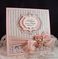 I hold you in my heart - silk ribbon. card designed by Sharon Johnson