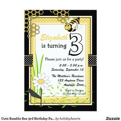 """Cute Bumble Bee 3rd Birthday Party 5"""" X 7"""" Invitation Card"""