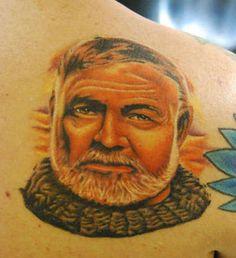 Portrait of Hemingway tattoo