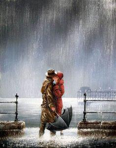 Jeff Rowland - British painter, couple kissing