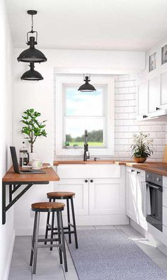 36 Great Small Kitchen Examples And Ideas You Can Get From Them- 2020 - Page 11 of 36 - coloredbikinis. com 36 Great Small Kitchen Examples And Ideas You Can Get From Them- 2020 - Page 11 of 36 - coloredbikinis. Small Kitchen Tables, Small Space Kitchen, Small House Kitchen Ideas, Small Kitchen Inspiration, Ideas For Small Kitchens, Small Kitchen Decorating Ideas, Wooden Kitchen, Modern Small Kitchen Design, Breakfast Bar Small Kitchen