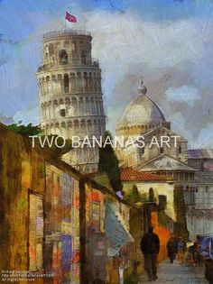 084 Behind The Leaning Tower Of Pisa by Richard Neuman Digital Media ~ 24 x 18