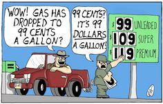 This political cartoon conveys a strong political statement upon the fluctuation of gas prices. Here we have a driver pasing by a gas station employee who is changing the prices on the board at unbelievable rates. The reaction to reading this cartoon may be similar to the reactions many people have when seeing higher gas prices.