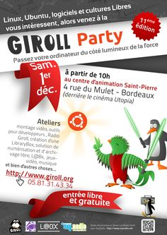 Giroll Party, France december : and Linux, France 1, 1st December, Software, Bordeaux France, French Press, Party, Free, Parties