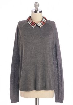 I'm Plaid You Asked Top. Its impossible to pinpoint which part of this grey sweater you love most! #grey #modcloth
