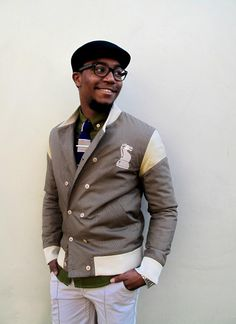 Double breasted varsity??!! Great button up /tie bar and glasses. This is it here! Whatsyoursignature.com Launching Feb 2013