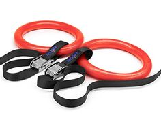 Yes4All Olympic Crossfit Gymnastic Rings with Flexible Buckles Red  AAAWZ -- AMAZON Great Sale