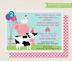 Barnyard Bash Invitation - perfect for a little girl's farm-themed birthday party!