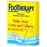 """FOOTherapy Natural Mineral Foot Bath - 3 oz by Footherapy. $1.99. Serving Size:. 3 Ounces Powder. For Relief From Discomforts Of Corns And Calluses And Hot, Tired, Aching Feet. Give your feet daily hygienic """"doctor's care"""" in your own home with Footherapy foot slats, a combination of concentrated minerals similar to those found in the waters of many famous natural health spas. Treat painful corns and calluses without """"razor blade"""" surgery, as Footherapy helps to soften, ..."""