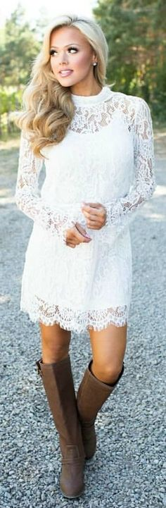 #winter #outfits white floral lace long-sleeve dress. Pic by @shopmvb.