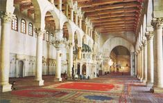 The Great Mosque, In Damascas Syria. The Mosque was begun in 707 A.D. It is said to house the skull of St. John the Baptist. The Three aisles separated by arcades create a space similar to a Roman basilica. As a converted mosque, it still contains many of its Early Christian design elements. Many later mosques were designed after The Great Mosque.