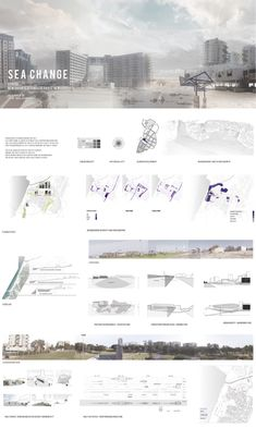 architecture presentation layout _ Sea Change - Edge of the sea by Dalia Munenzon - Sea Change A As Architecture, Architecture Graphics, Architecture Drawings, Architecture Presentation Board, Presentation Layout, Presentation Boards, Architectural Presentation, Photoshop, Planer Layout