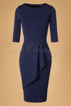 Vintage Chic Scuba Crepe Navy Wrap Skirt Pencil Dress 100 31 19628 20161102 0012W