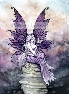 Fairy Fantasy Fine Art Watercolor Giclee Print por MollyHarrisonArt