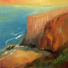 Oil on Canvas Painting Workshop, Ocean Waves, Beautiful Sunset, Side View, Cliff, Oil On Canvas, Art Drawings, California, Beach Waves
