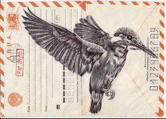 Bic biro drawing on vintage USSR envelope. by mark powell, via Behance Biro Art, Biro Drawing, Collages, Collage Art, Mark Powell, Envelope Art, Street Art, Mail Art, Poster