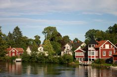 Homes on the Gota canal, Sweden