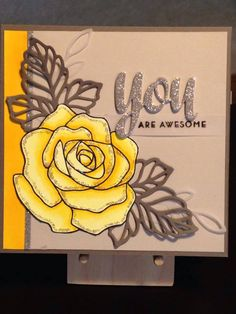 Just Because Card - Thank You Card - Stamps:  Stampin' Up Rose Wonder, Altenew Painted Butterflies - Dies:  Stampin' Up Rose Wonder, Avery Elle Simply Said You - Copics:  Y00, Y13, Y18 - Inks:  Memento Tuxedo Black, Versifine Onyx Black - Simon Says Stamp Clear Detail Embossing Powder - Ranger Stickles Glisten - Paper:  Bazzill Sugar Wafer, The Paper Studio Glittered Cardstock Paper Pad