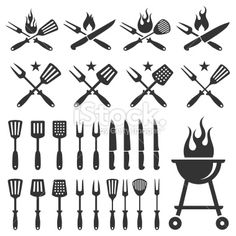Summer Barbecue grill knife and spatula vector icon set royalty-free summer barbecue grill knife and spatula vector icon set stock vector art & more images of barbecue Summer Barbecue, Barbecue Grill, Barbecue Recipes, Grilling, Bbq Logo, Grill Logo, Free Vector Graphics, Free Vector Art, Vector Icons