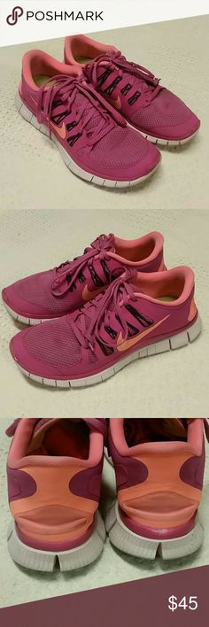 Pink Nike free 5.0 running shoes sneakers 9.5 Pink and orange Nike free 5.0 sneakers, see pics for wear Nike Shoes Sneakers