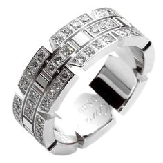 Cartier Tank Francaise Diamond Gold Ring | From a unique collection of vintage band rings at https://www.1stdibs.com/jewelry/rings/band-rings/
