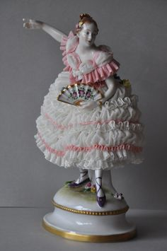 Lovely Lace Lady, Porcelain Figurine, Volkstedt, Dresden Germany. in Antiques, Decorative Arts, Ceramics & Porcelain, Figurines | eBay