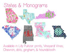 Monogrammed State Decal Choose a pattern add by GinsMonogramShoppe, $7.99