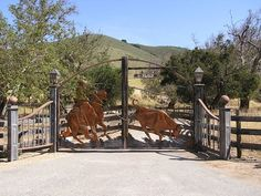 Ranch gates with horse design - western design exterior