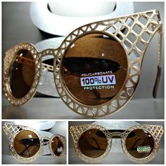 VINTAGE RETRO CAT EYE Style SUN GLASSES Unique Matte Gold Mesh Frame Brown Lens in Clothing, Shoes & Accessories, Women's Accessories, Sunglasses & Fashion Eyewear | eBay