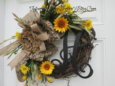 RUSTIC SUNFLOWER WREATH   Monogram Decor Door Wreath   Country Farmhouse Style Decor Wreath    Personalized Wedding  Gift Wreath by AutumnsEchoShoppe on Etsy