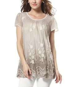 Look what I found on #zulily! Khaki Floral Lace Short-Sleeve Tunic - Plus #zulilyfinds