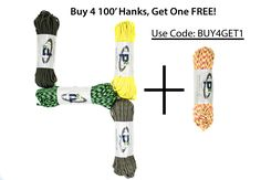 Buy 4 100' paracord hanks and get one FREE! Put all 5 hanks in your cart and use coupon code: BUY4GET1 to save! Act fast- offer expires 8-3-2016.   Limit one free 550 paracord 100' hank per order. You may include 550 paracord with reflective tracers, 550 paracord with glow in the dark tracers, mil-spec 550 paracord, or Apocalypse Edition 550 paracord and we will give you a prorated discount of $9.49 (the retail value of one standard 550 paracord 100' hank).