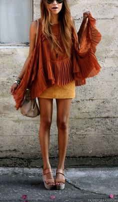 Blouse, fitted skirt, and wedges